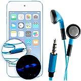 DURAGADGET Auriculares In-Ear Con Luz LED Azul Para Apple iPod Touch ( 6 / 5 / 4 / 3 / 2 / 1 Generación ) - ¡Las Luces Se Mueven Al Ritmo De La Música!