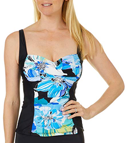 Maxine Of Hollywood Damen Over The Shoulder Shirred Tankini Swimsuit Top Tankinioberteil, Cobalt/Retro Floral, 40