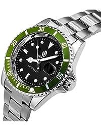 Los relojes del negocio de moda de acero Movimiento Sewor mecánico automático relojes suizos corona a rosca de los hombres de
