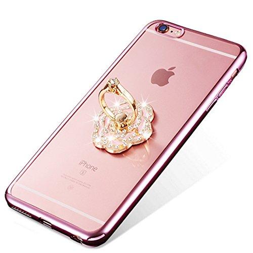 Nnopbeclik [Coque Iphone 6 Plus Silicone / Iphone 6S Plus Transparente] Diamant Fleur Motif Style Bijoux de Bande Briller avec Bague Doux Backcover Housse pour Iphone 6 Plus Coque Apple / Iphone 6S Pl roseor