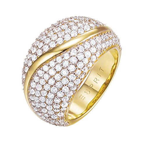 ESPRIT Glamour Damen-Ring ES-ATROPIA GOLD teilvergoldet Zirkonia transparent Gr. 57 (18.1) - ESRG02844B180