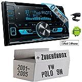 VW Polo 9N - Kenwood DPX-X5000BT - 2DIN Bluetooth USB Autoradio - Einbauset