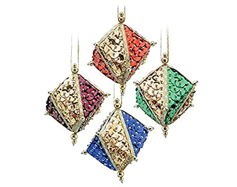 Pinflair Sequin & Pin Christmas Kit - 4 Gemstone Cube Bauble Ornaments