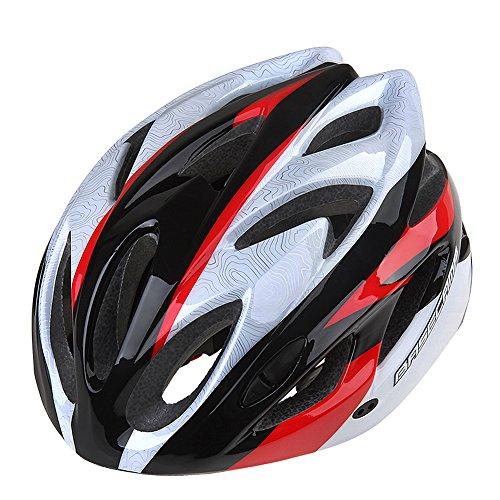 GranVela® BC012Casco de ciclismo, ligero Colorful carretera/montaña casco, adultos tamaño ajustable, Silver&Red