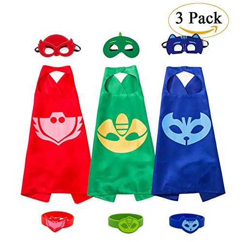 PJ Masks Kostüm,3 Capes und Masken für Kinder - Halloween Kostüm (3 Pack(with Bracelet))
