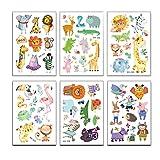 Toyvian Niños Dibujos Animados Animales Tatuajes temporales Pegatinas Cuerpo Infantil Pegatinas para niños y niñas 20 Hojas (patrón Mixto)