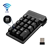 2.4G Wireless Number keyboard KeWalker 19 Keys Waterproof Wireless numeric keypad with Mini USB Receiver, for Laptop / Notebook/Mac/Mac Pro/Macbook, Compatible with Windows System