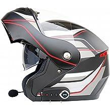 WU Antiempañamiento Doble Lente Motocicleta Bluetooth Casco Motocicleta Casco Motocicleta Cara Abierta Casco Completo Casco Viene