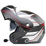 GUO Anti-Buée Double Lentille Moto Casque Bluetooth Casque de Moto Moto Casque Ouvert Casque Intégral Livré avec Fm,UNE,L
