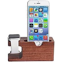 Apple Watch Stand, madera de bambú xphonew multifunción cargador de soporte de carga Dock/Estación/soporte/soporte para iPhone 7Plus 766S Plus 5S 5se iWatch 38mm y 42mm Samsung Galaxy S6S7Funda para teléfono