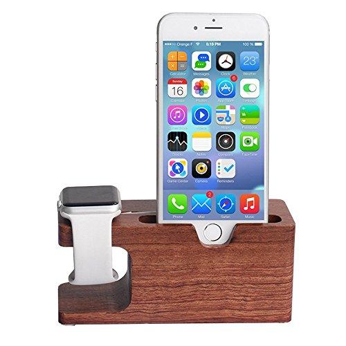 Apple Armbanduhr Ständer, xphonew Bambus Holz Multifunktions Charging Stand Ladegerät Dock/Station/Cradle/Halter für iPhone 7Plus 766S Plus 5S 5SE iWatch 38mm und 42mm Samsung Galaxy S6S7Handy