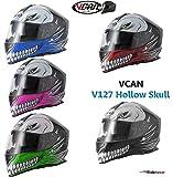 Neue Helm Motorrad,–, V127HOLLOW Skull Helm des Kraftrad, sportliche Integralhelm volle Gesicht Grafikkarte Helm Corsa Scooter, Pink XS Pink