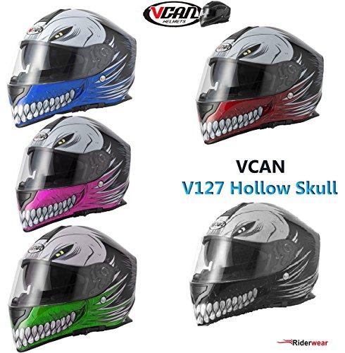Nuovo Casco Moto - VCAN V127 HOLLOW SKULL Casco del motociclo, Sportivi Casco Integrale Pieno volto Grafico Casco da corsa Scooter, ROSA (XS)