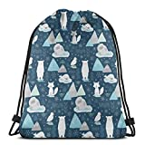"beautiful& Animals of The Arctic Scale_7229 3D Print Drawstring Backpack Rucksack Shoulder Bags Gym Bag for Adult 16.9""x14"""