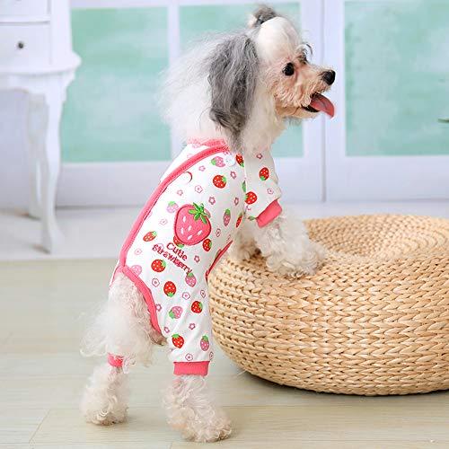 Urijk Haustier Pyjamas Hund Katze Baumwolle Schlafanzüge Pyjama Cozy Soft Jumpsuits XS bis XL Jacken für Kleine und Mittelgroße (4 Jahreszeiten Kostüm Ideen)
