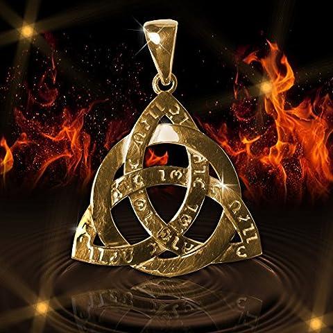 Amuleto celtico Triquetra Trinità Forza antico potere Sterling argento e oro placcato