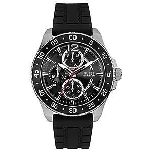 Guess Reloj Black Rubber Strap Black Dial Multifunction Mens Watch - W0798G1