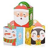 FLOFIA 24 Cajas Regalo Navidad Pequeñas Carton Papel Cajas Galletas Navidad Empaque Embalaje de Regalos Navideños Pasteles Cupcakes Caramelos Dulce Sorpresas de Navidad DIY Calendarios Adviento