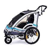 Qeridoo Sportrex 1 Deluxe (inkl. Sitzpolster) Kinder-Fahrradanhänger für 1 Kind (mit einstellbarer Federung) - blau