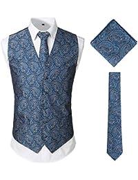 0640b6e97 JOGAL Men's 3pc Classic Paisley Floral Jacquard Waistcoat&Necktie and  Pocket Square Vest Set for Suit or