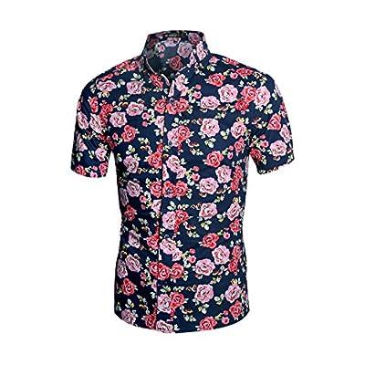 Allegra K Hombre Con Cuello Manga Corta Floreado Camisa Corte Slim - algodón, Multicolor, 100% algodón, Hombre, S (GB 36)