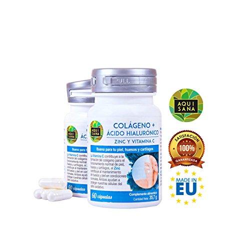 Colágeno con ácido hialurónico, vitamina C y zinc para mantener la flexibilidad y la salud de huesos y articulaciones - Suplemento para ayudar a reducir los signos de envejecimiento - 60 cápsulas