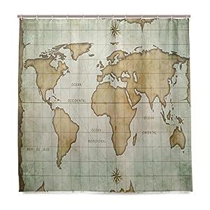 ISAOA Impresión Digital Impermeable y Mildewprof de Cortina de Ducha con 12 Ganchos Tamaño 180 × 180 (72 × 72 pulgadas) Retro Azul Mapa del Mundo Cortina Decor para Baño