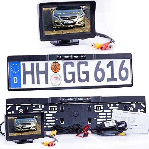 HSRpro Drahtlose Kabellose Funk Autokennzeichen Rückfahrkamera mit Hilfslinien + Stand Monitor - LED Nachtsicht für KFZ, PKW Auto & Kleine Bus - Rear View Camera