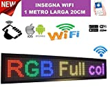 Enseigne lumineuse à LED de couleurs RVB, Wi-Fi, avec texte défilant personnalisable, pour tableau et magasin, USB, 100x 20cm