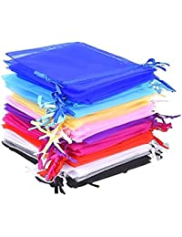 50 Pieces 10 Colors Multi-Colored Organza Gift Bags Wedding Party Favor Bags Jewelry Pouches Wrap, 4.7 x 3.6 Inch