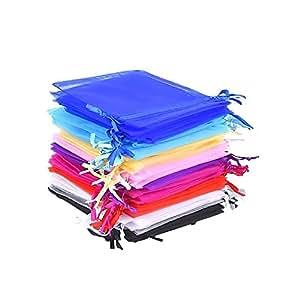 Sacchetti Regalo in Organza Multicolori Buste di Matrimonio Festa Favore Sacchetti Gioielli, 4.7 x 3.6 Pollice 50 Pezzi 10 Colori