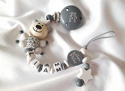 Baby Schnullerkette Teddy mit Namen – Junge – Geschenk zur Geburt, Taufe (Grau, Dunkelgrau)