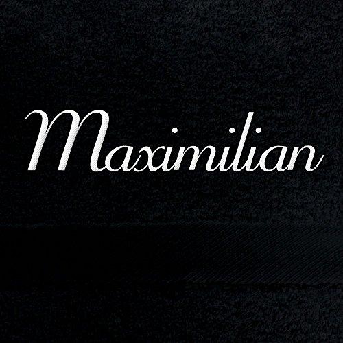 Handtuch mit Namen Maximilian bestickt, 50x100 cm, schwarz, extra flauschige 550 g/qm Baumwolle (100{9e831245231dc0dc8606f5af41a8e68c1375af57d2245cbc3af70721fa2b4f0c}), Badetuch mit Namen besticken, Duschtuch mit Bestickung