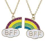 Juego de 2 collares Lux Accessories en dorado, con diseño de arcoiris, para mejores amigas