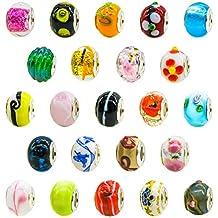 Toaob Lot de 50breloques en verre de Murano pour bracelets style Pandora