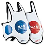 M.A.R International Ltd Brustschutz mit Trefferzielen, MMA-Körperschutz, Schutz für Muay-Thai-Training, Taekwondo, Karate, Kickboxen, Sparring, Boxen, Kampfsport-Zubehör, wendbar, White Red/Blue, Kinder M