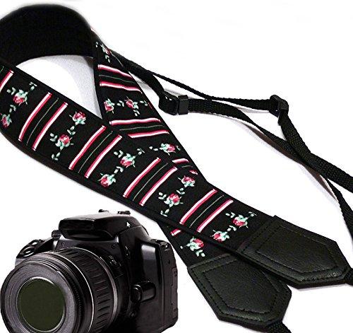 Floral Scarf Belt (intepro Blumen Kameragurt. Tiny Rosen und Streifen Kameragurt. Schwarz DSLR-Kamera Kamera Zubehör. Strapazierfähig, geringes Gewicht und gut gepolstertem Kamera Strap. Code 00053Tischunterlage)