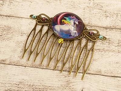 Peigne avec des accessoires de cheveux de licorne cheval fantaisie colorée
