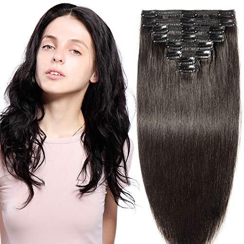Extension capelli veri clip double weft 8 fasce remy human hair xxl full head set lisci lunga 55cm pesa 160g, #1b nero naturale