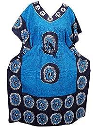 c6722d50f1 Mogul Interior Womens Kaftan Caftan Maxi Dress Batik Print Kimono Sleeves  Cotton House Dress OneSize Orange