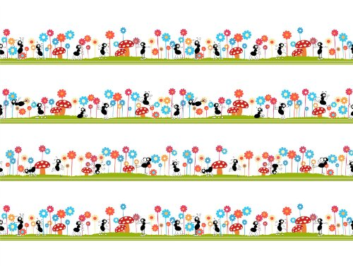12-x-16-inch-30-x-40-cms-seamless-ants-pattern-kids-bug-mushroom-flower-children-fine-art-print-post