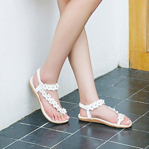 Amlaiworld Sandales Femmes, Sandales Perlées Sucrées Mode Sandales Bohème dété Clips Sandales Toe Chevrons Sandales Chaussures Blanc