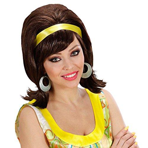 Amakando 60er Jahre Perücke Retro Damenperücke braun Sixties Kunsthaar Hippie Girl Haare Mottoparty Faschingsperücke Rock 'n' Roll Karnevalsperücke