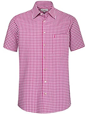 Almsach Kurzarm Trachtenhemd Lucki Regular Fit in Pink inklusive Volksfestfinder