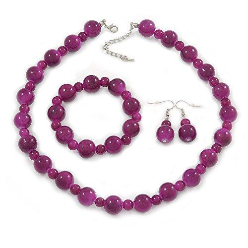 Viola marmo colore collana di perline in ceramica, Flex braccialetto e orecchini a goccia in argento, 40cm L/5cm Ext