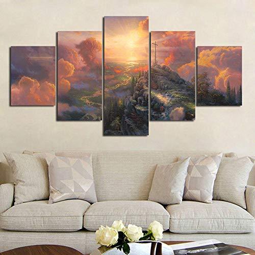 Muraon 5 Panel HD Druck Thomas Kinkade Cross Valley Malerei Leinwand Wandkunst Bild Poster @ 30X40 30X60 30X80cm_Unframed_ -