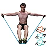 Esercizio regolabile resistenza tensione tubo bande-CMXING elastico tirare corda perfetto per la resistenza di formazione peso sollevamento Yoga Pilates ABS esercizio stretch fitness palestra con maniglie in schiuma (Blu)