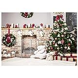 TOOGOO(R) 7x5ft Weihnachtsbaum Hintergrund Fotografie Ziegel Kamin fuer Neugeborenen Weihnachten Foto Studio Hintergrund