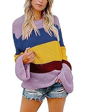 ZORE Women Sweater Mujeres striple suéter Casual de Punto Sueltas de Manga Larga Jersey Tops
