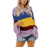 JERFER Frauen Multicolor Striped Sweater Gestrickte Lose Langarm Pullover